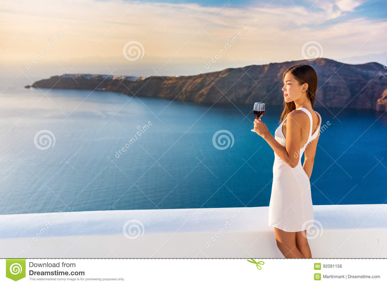 Download Luxury Hotel Woman Drinking Red Wine In Santorini Stock Photo - Image of hotel, home: 92091156