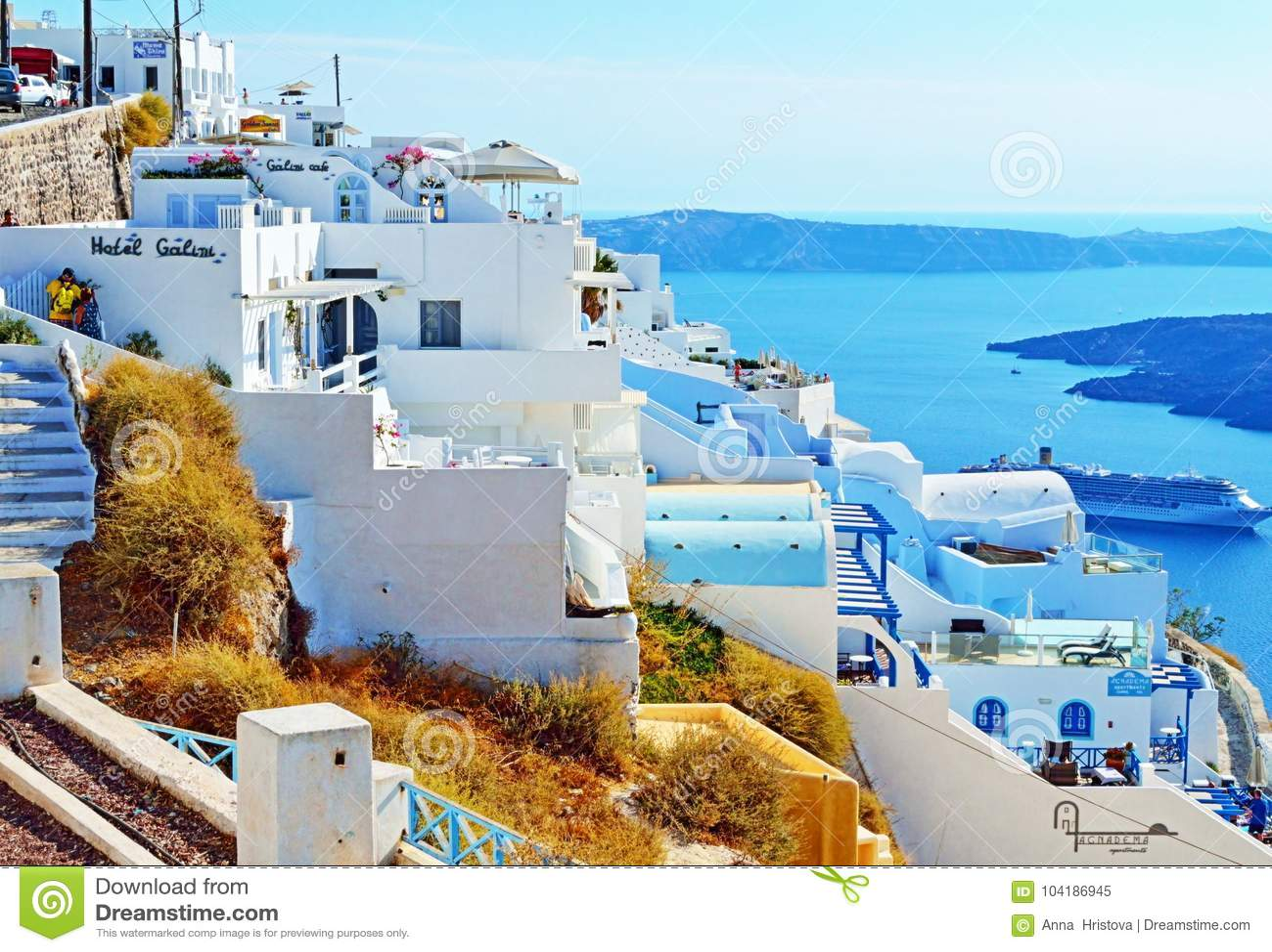 Luxury Hotels Sea Views Santorini Cyclades Greece Editorial Image