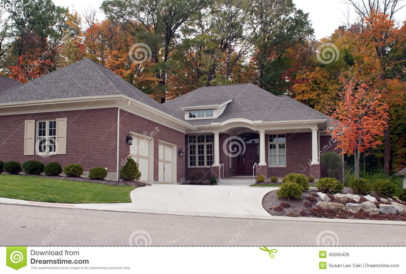 Luxury house in autumn stock photo image 45565426 for How big is two car garage