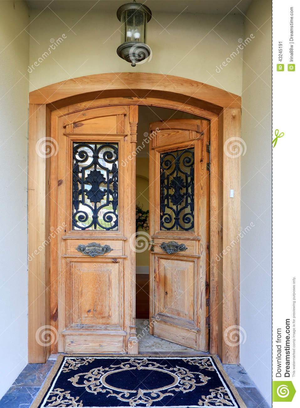 Luxury House Entrance Porch With Open Door Stock Photo