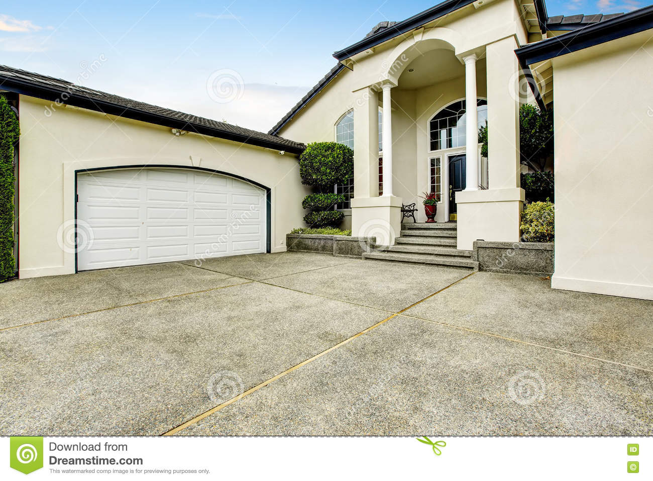 Luxury house exterior with concrete floor porch with for House with big garage