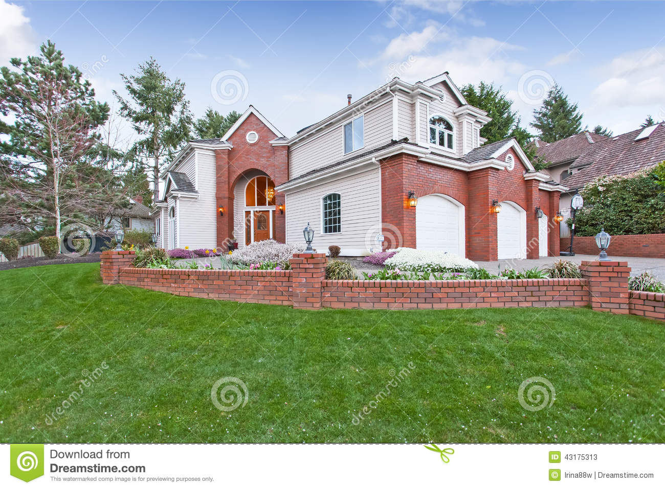 luxury house exterior with curb appeal stock photo
