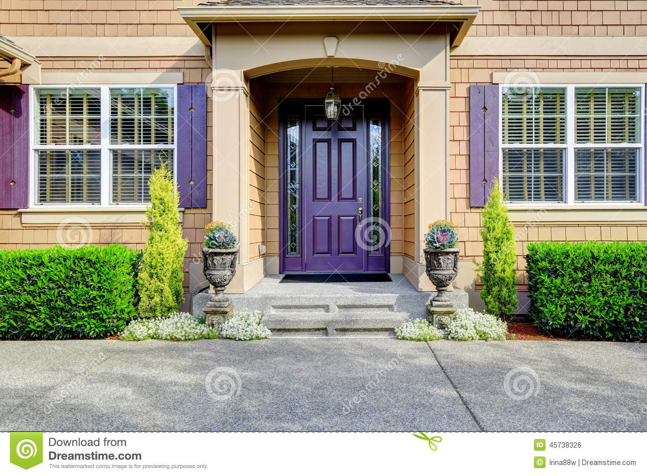 957 #77AA22 Luxury House Exterior. Entrance Porch With Purple Door Stock Photo  wallpaper Purple Front Doors 47051300