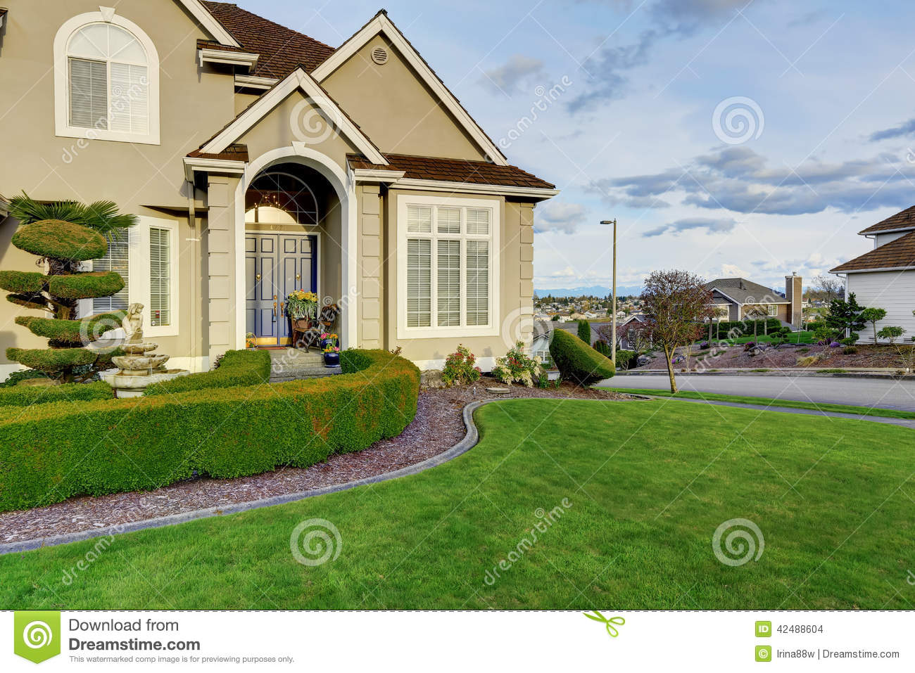 Luxury House Exterior luxury house exterior. entrance porch view stock photo - image