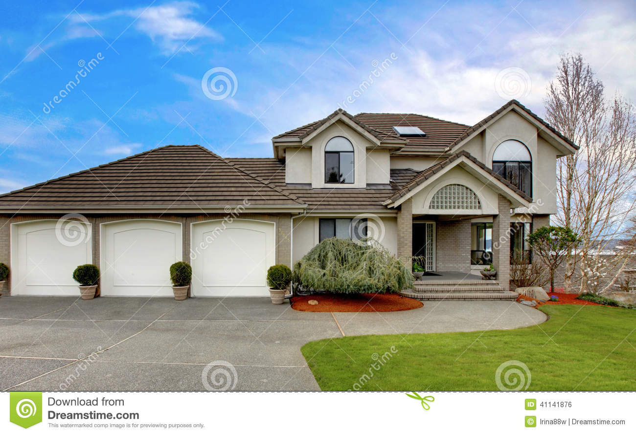 Luxury House Exterior Front Porch Stock Photo Image Of