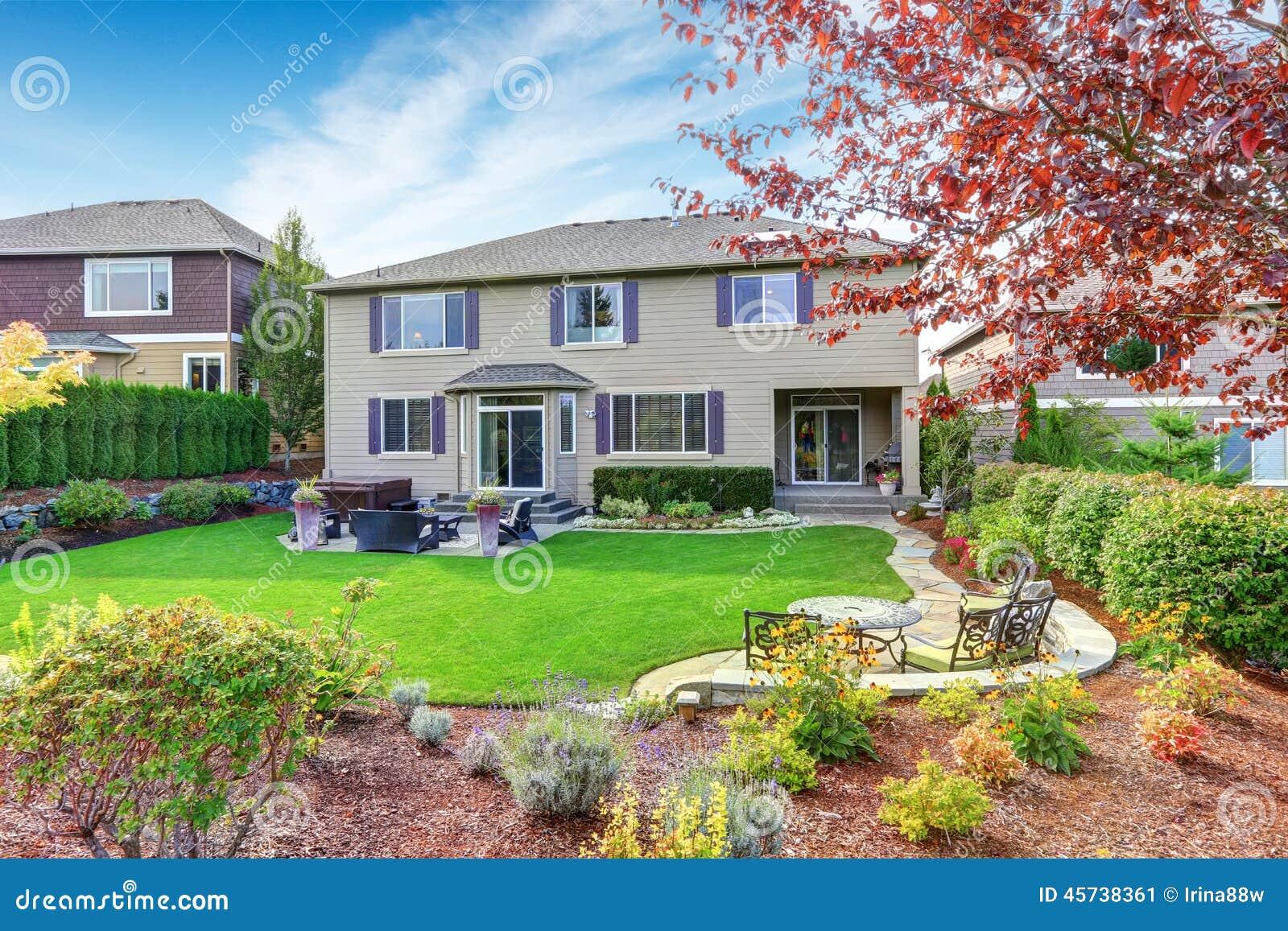 Luxury House Exterior With Impressive Backyard Landscape