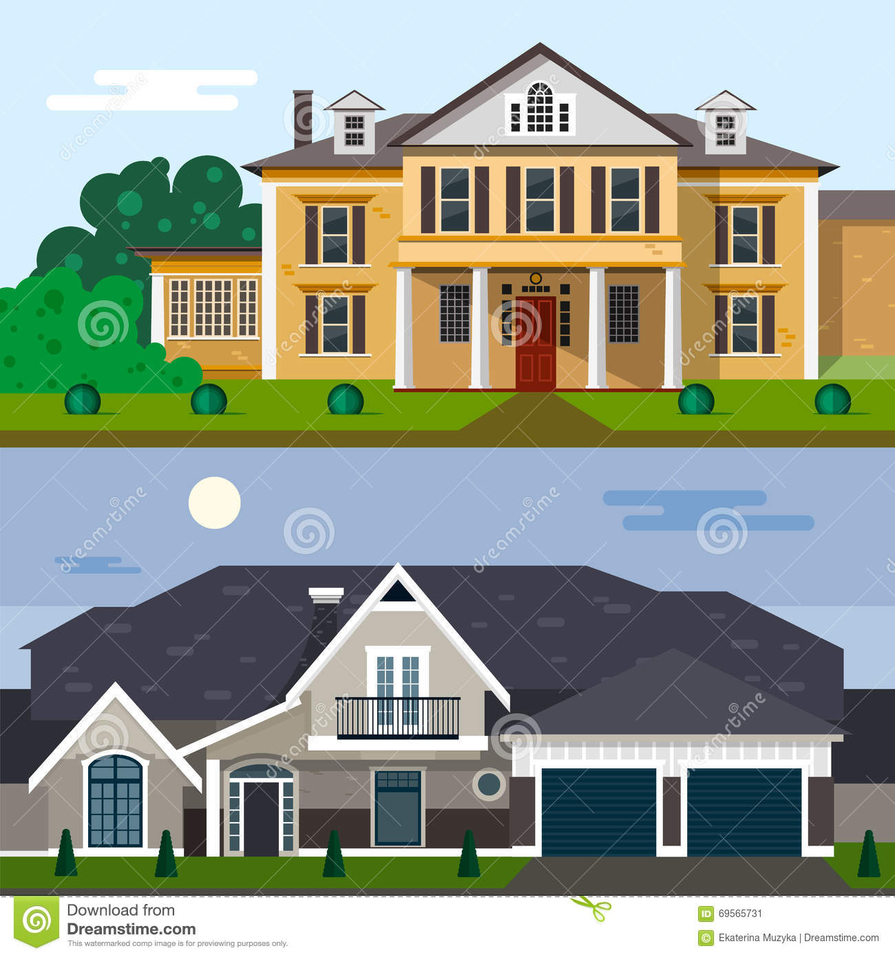 Luxury house exterior vector illustration in flat style for Flat house exterior design