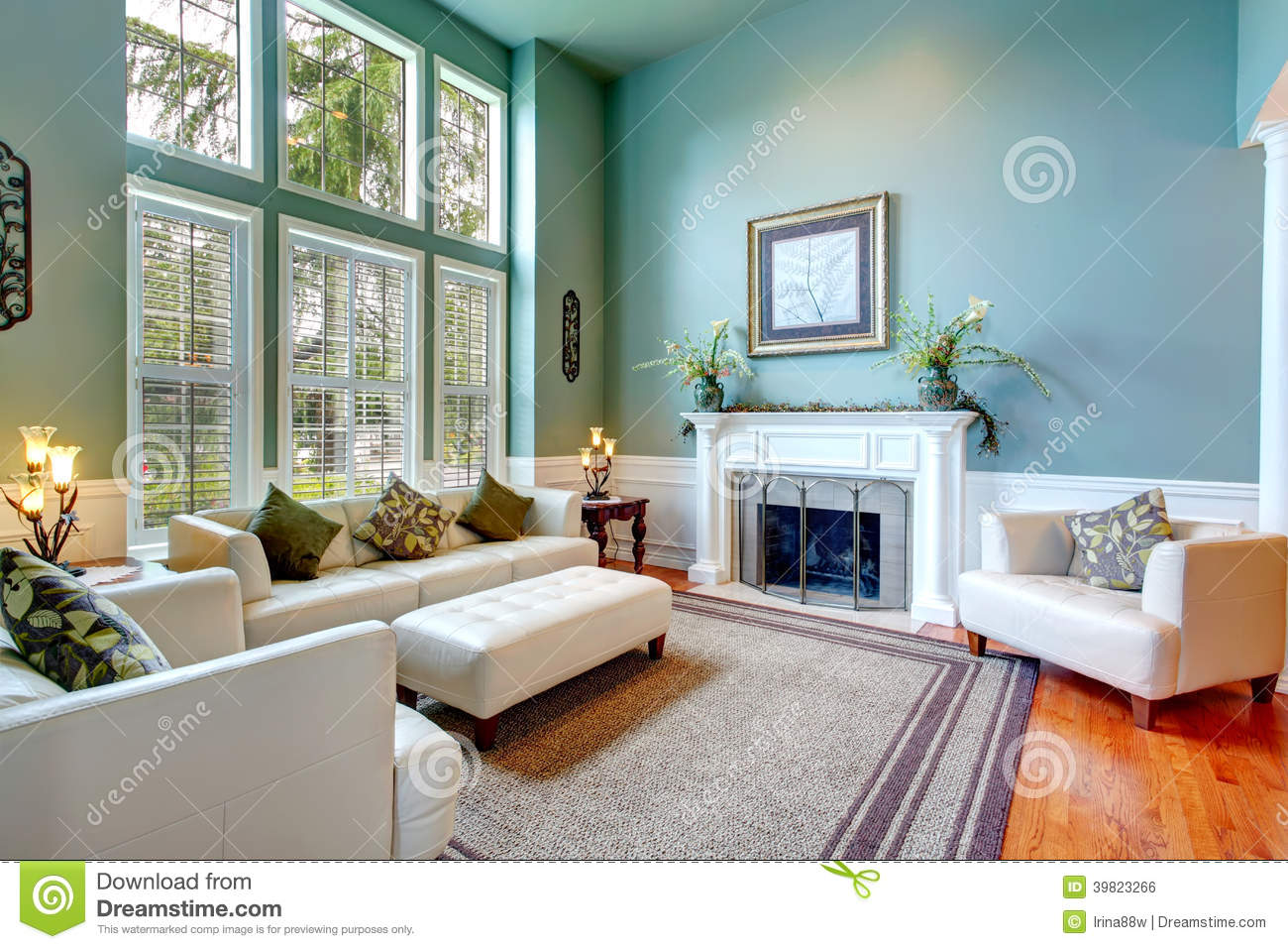 Luxury house interior elegant living room stock photo for White and aqua living room
