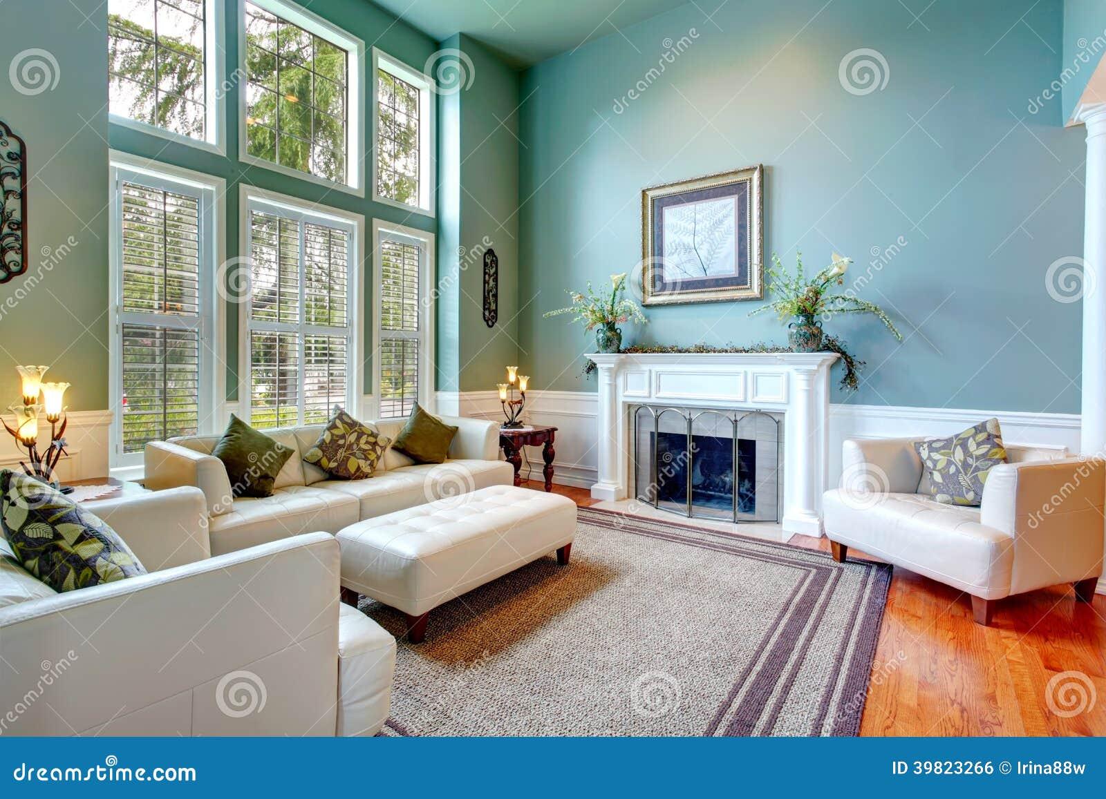 Luxury House Interior Elegant Living Room Stock Photo