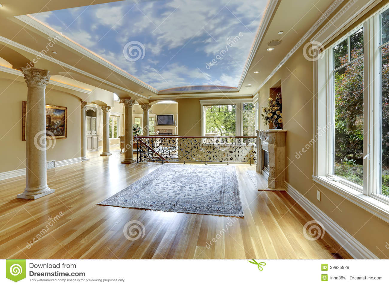 Luxury house interior empty living room stock photo for Villa de luxe moderne interieur
