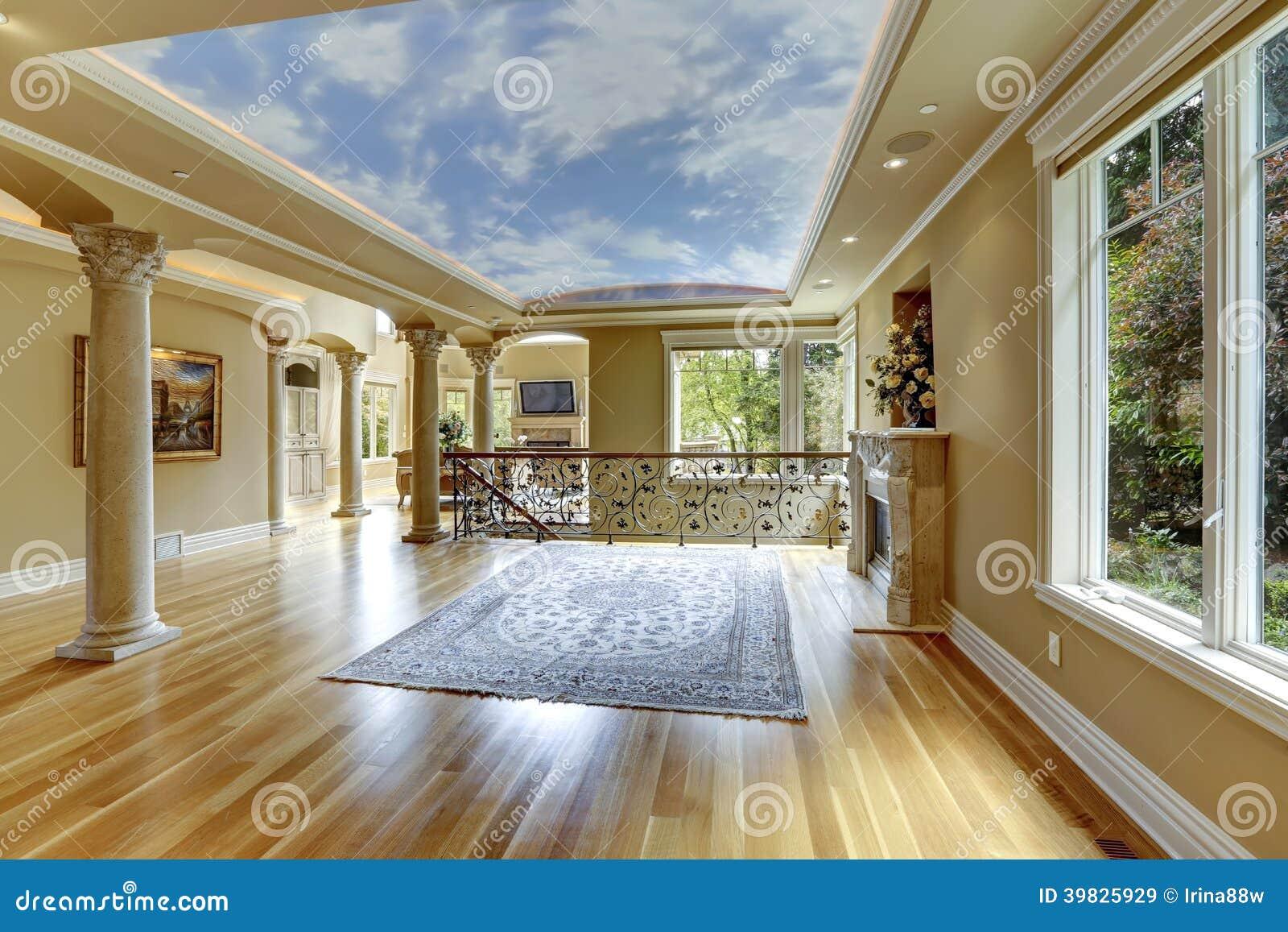 luxury house interior empty living room stock photo