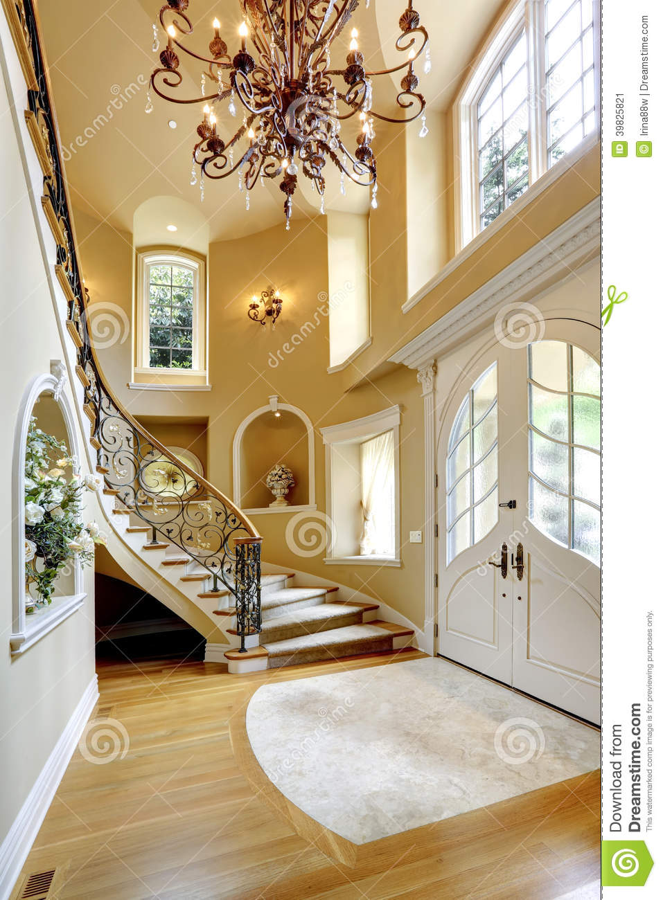 Luxury house interior entrance hallway stock image for Interieur maison de luxe