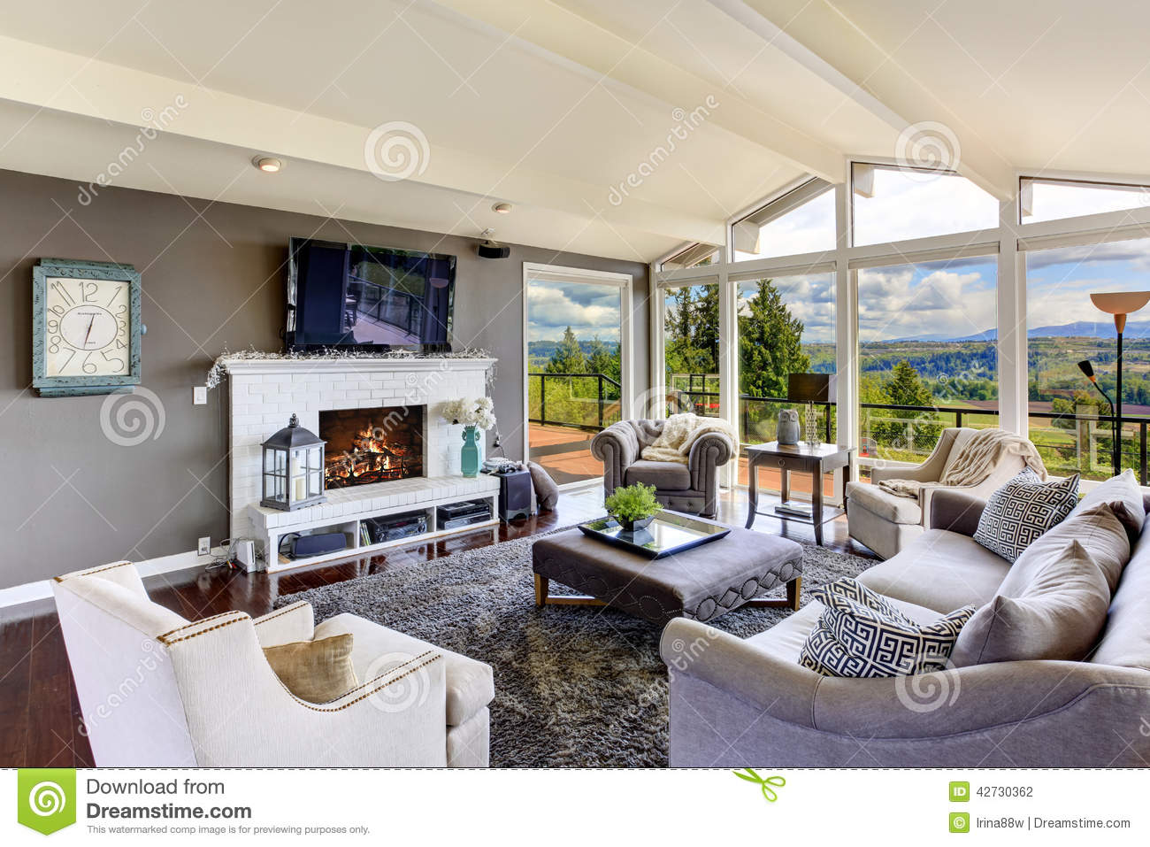 Luxury House Interior Living Room With Beautiful View Stock Photo