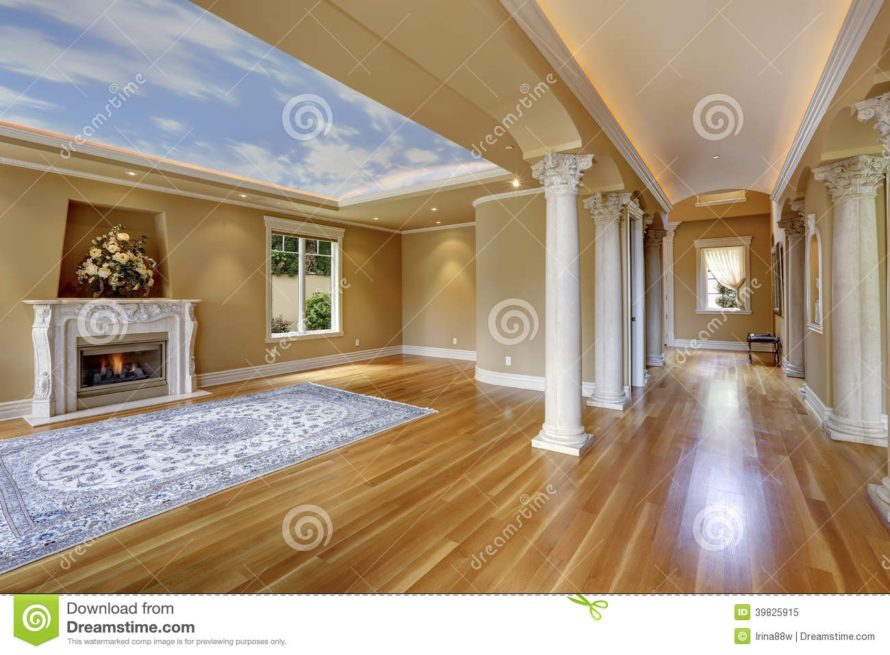 Luxury house interior living room with column stock image for Columns in houses interior