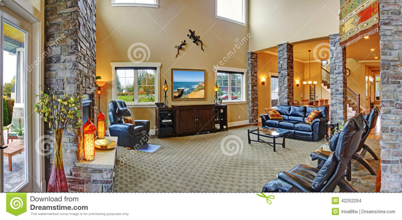 Luxury house interior living room with fireplace stock - Luxury house plans with photos of interior ...