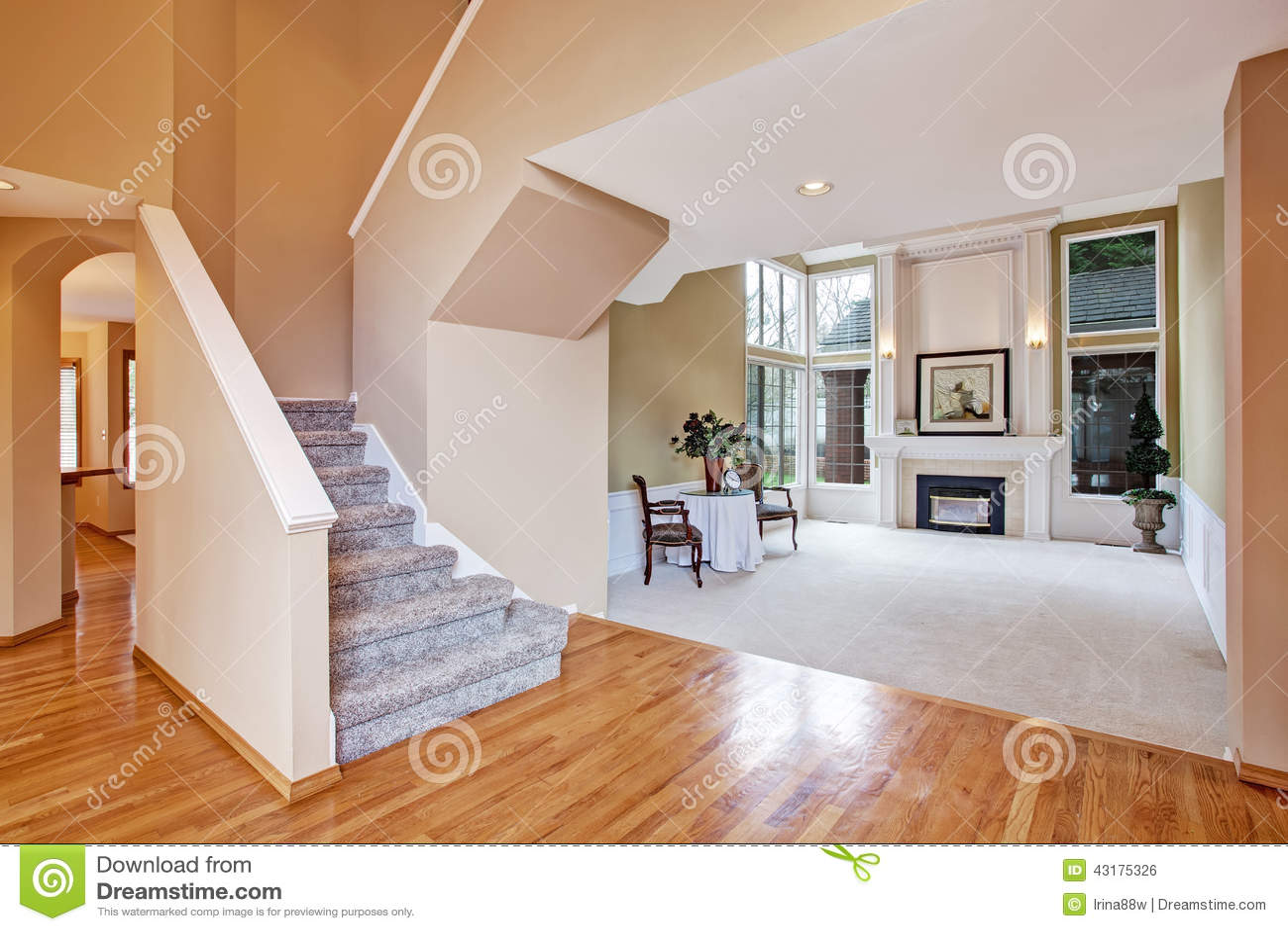 Luxury house interior living room and hallway stock photo for Luxury homes interior living room