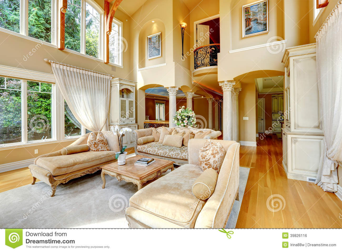 Luxury house interior living room stock photo image - Imagen de casas ...