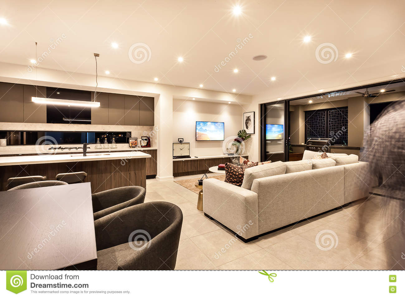 luxury house interior with living room and the kitchen. Black Bedroom Furniture Sets. Home Design Ideas