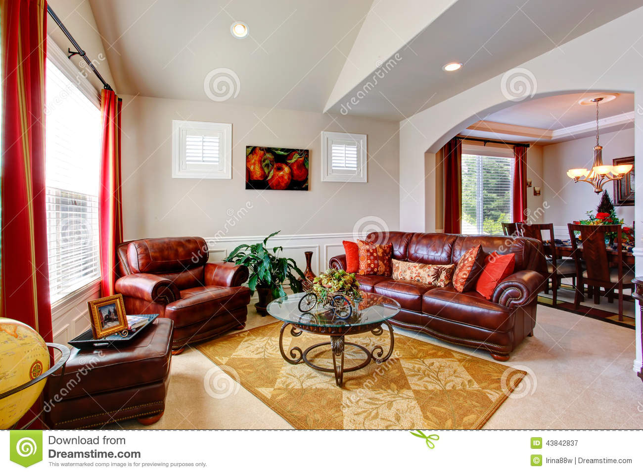 luxury house interior living room with leather couches stock photo image 43842837. Black Bedroom Furniture Sets. Home Design Ideas