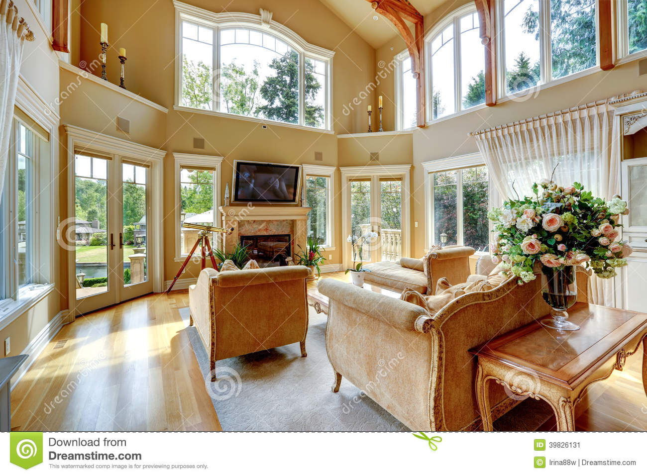 Mansion Interior Living Room With Tv : Impressive high ceiling living room with tv, fireplace and antique ...