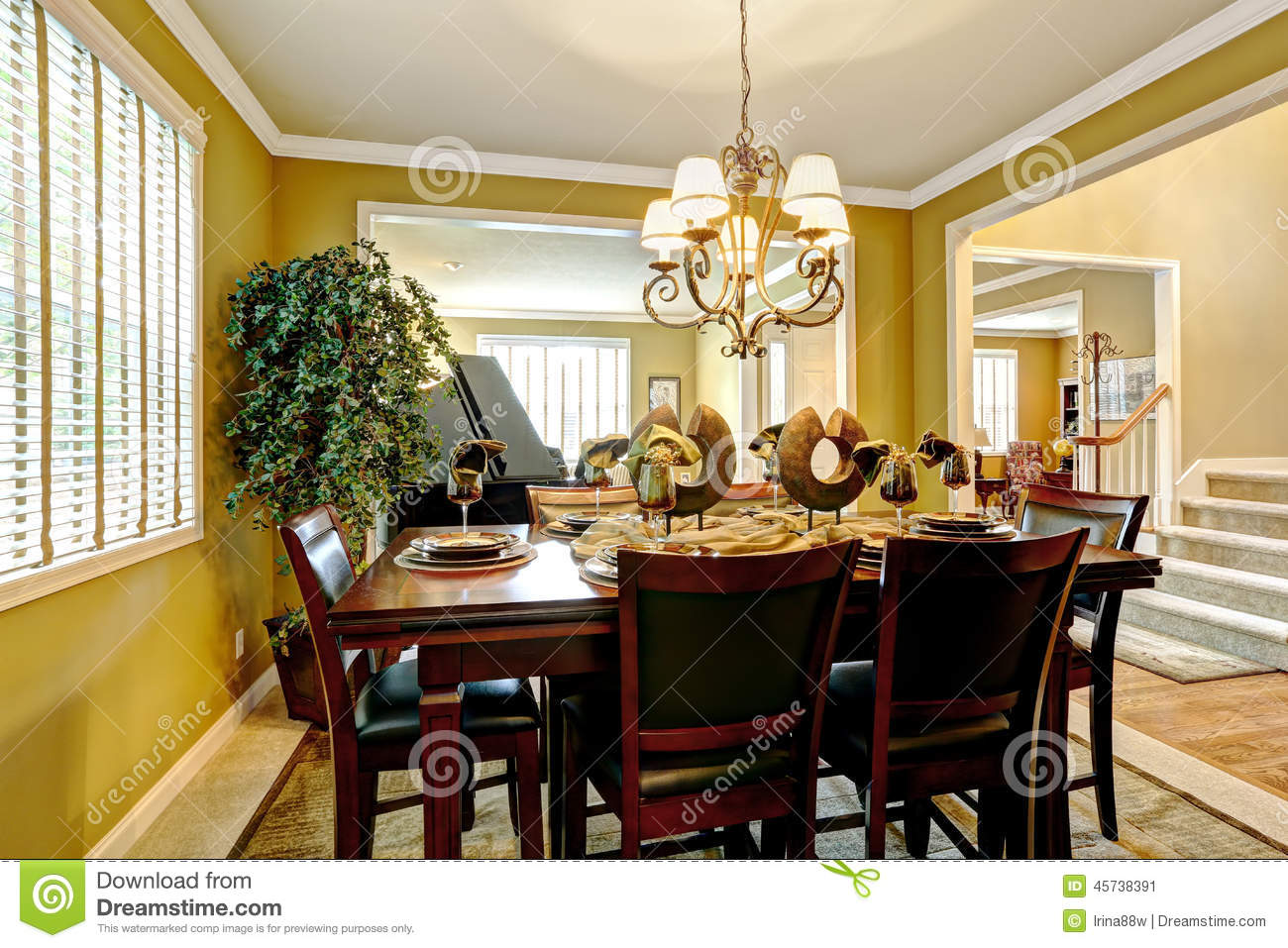 Luxury House Interior Served Dining Table In Bright Room