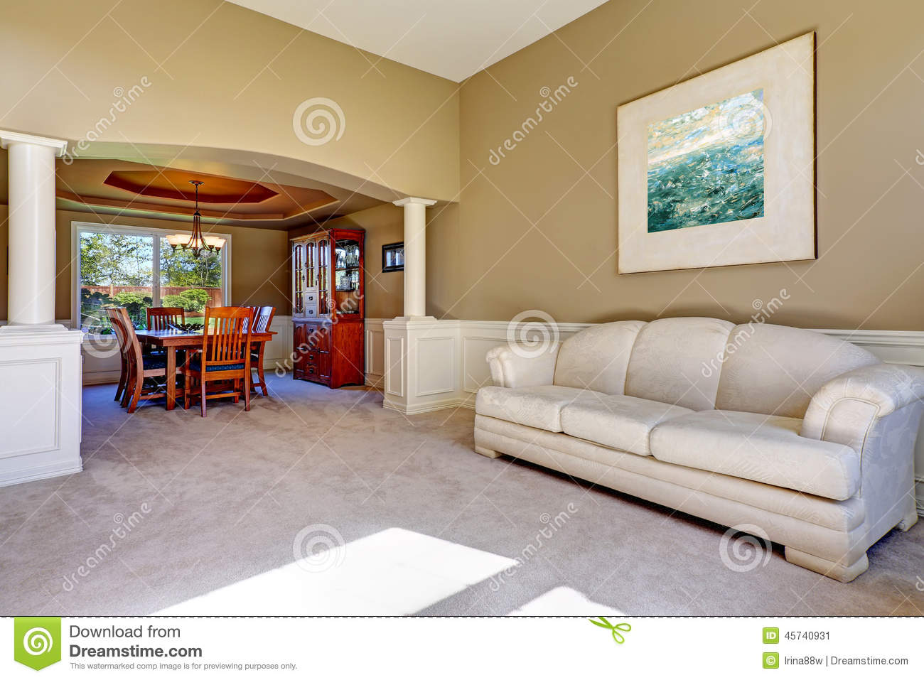 Luxury House Interior With White Columns Stock Image