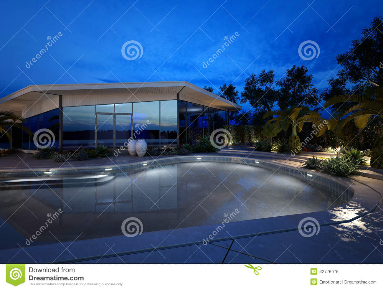Luxury house with a landscaped swimming pool
