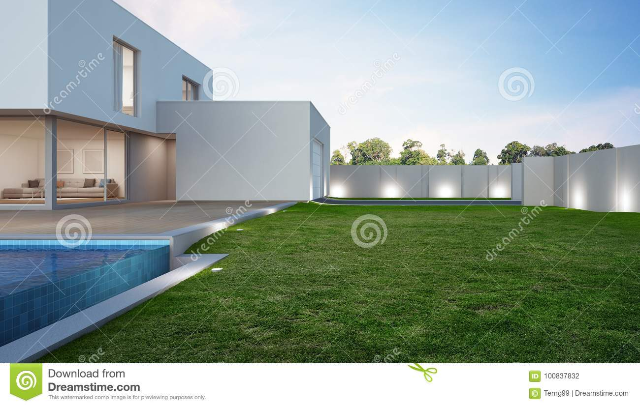 Luxury House With Swimming Pool And Terrace Near Lawn In Modern Design Vacation Home Or Holiday