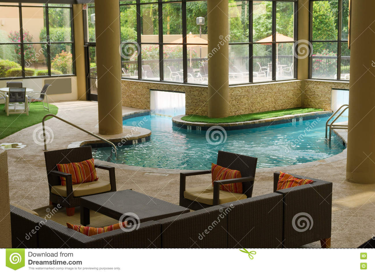 Luxury Indoor Outdoor Swimming Pool In Natural Light Stock