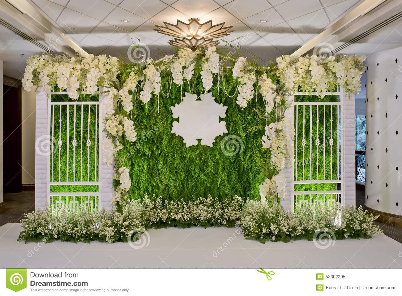 Luxury Indoors Wedding Backdrop Decoration Stock Photo