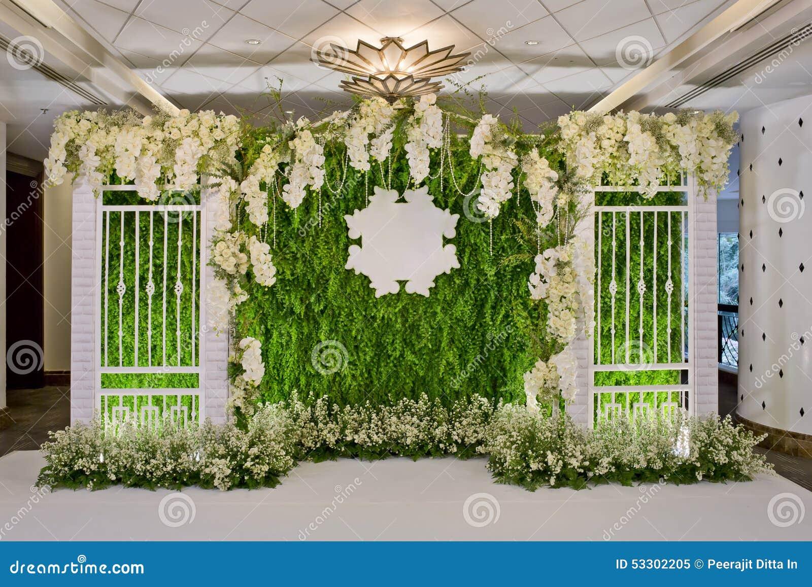 Luxury Indoors Wedding Backdrop Decoration Stock Photo