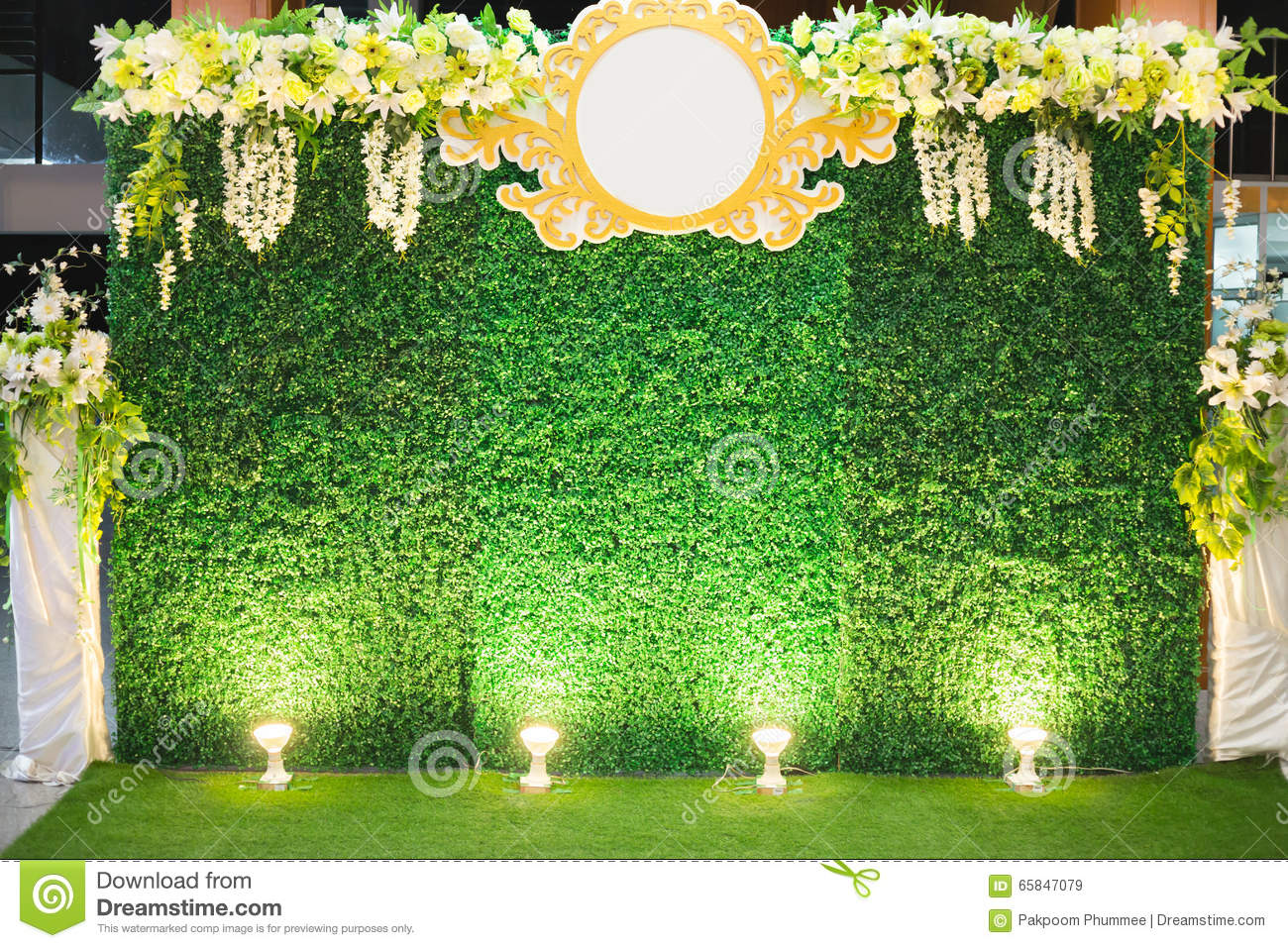 Luxury indoors wedding stage decorate stock image image for Background decoration images