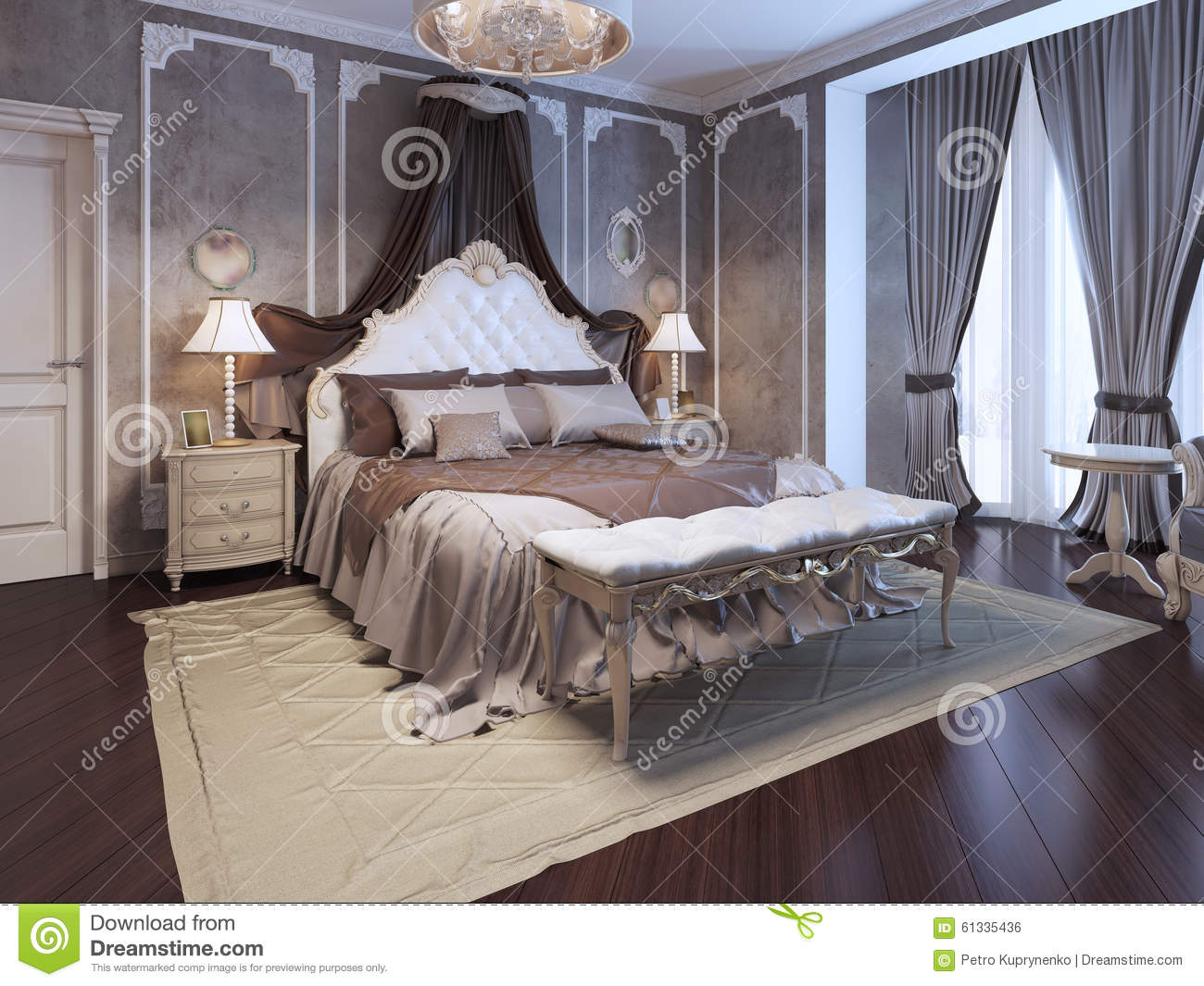 luxury interior of art deco bedroom stock illustration. Black Bedroom Furniture Sets. Home Design Ideas