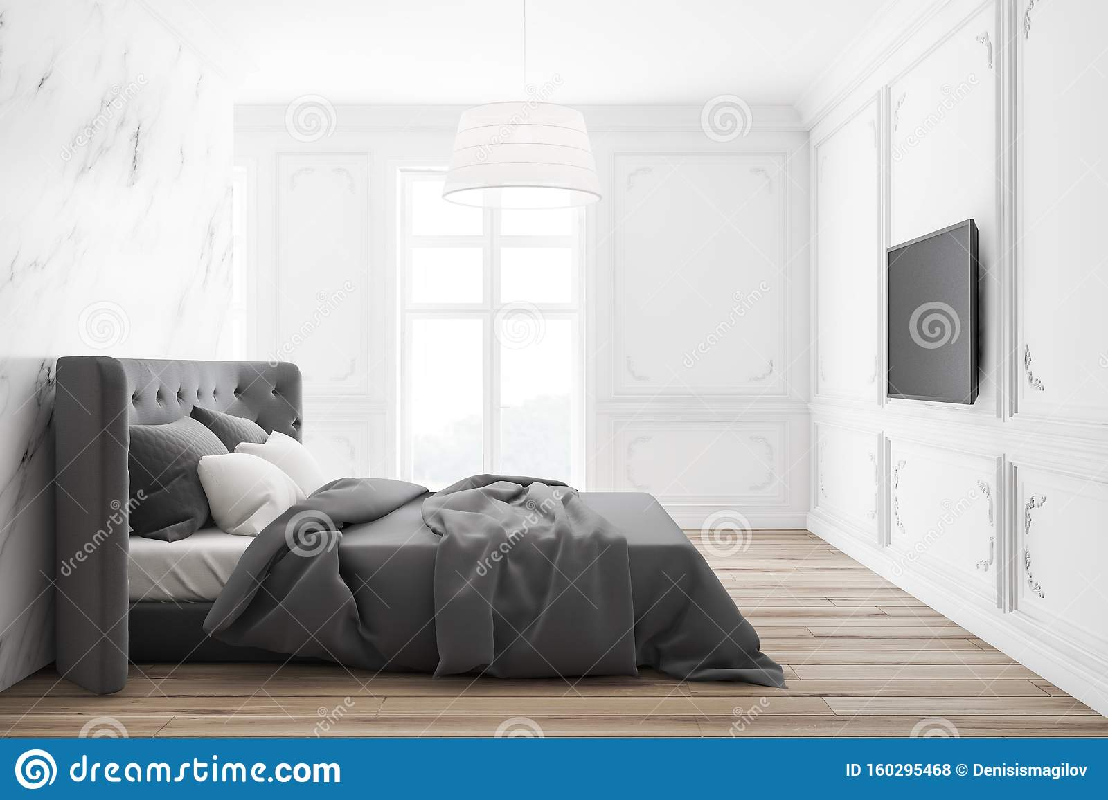 White And Marble Master Bedroom With Tv Stock Illustration Illustration Of Lamp Home 160295468