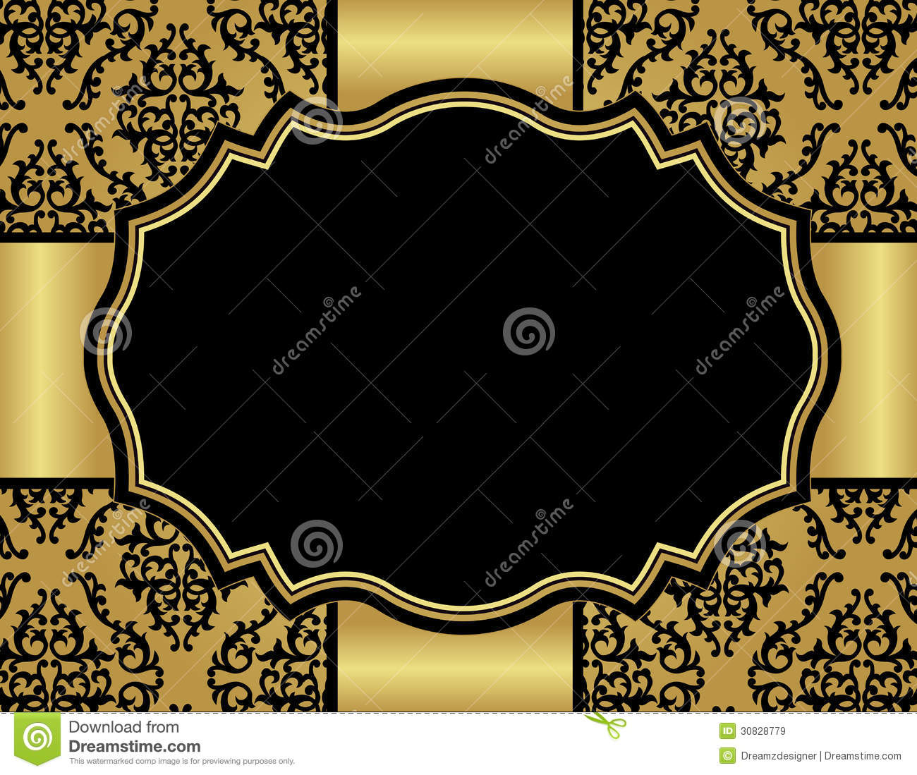 Luxury Invitation Card With Damask Seamless Patter Stock