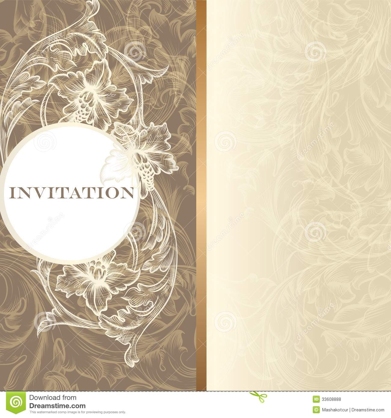 luxury invitation card in vintage style royalty free stock