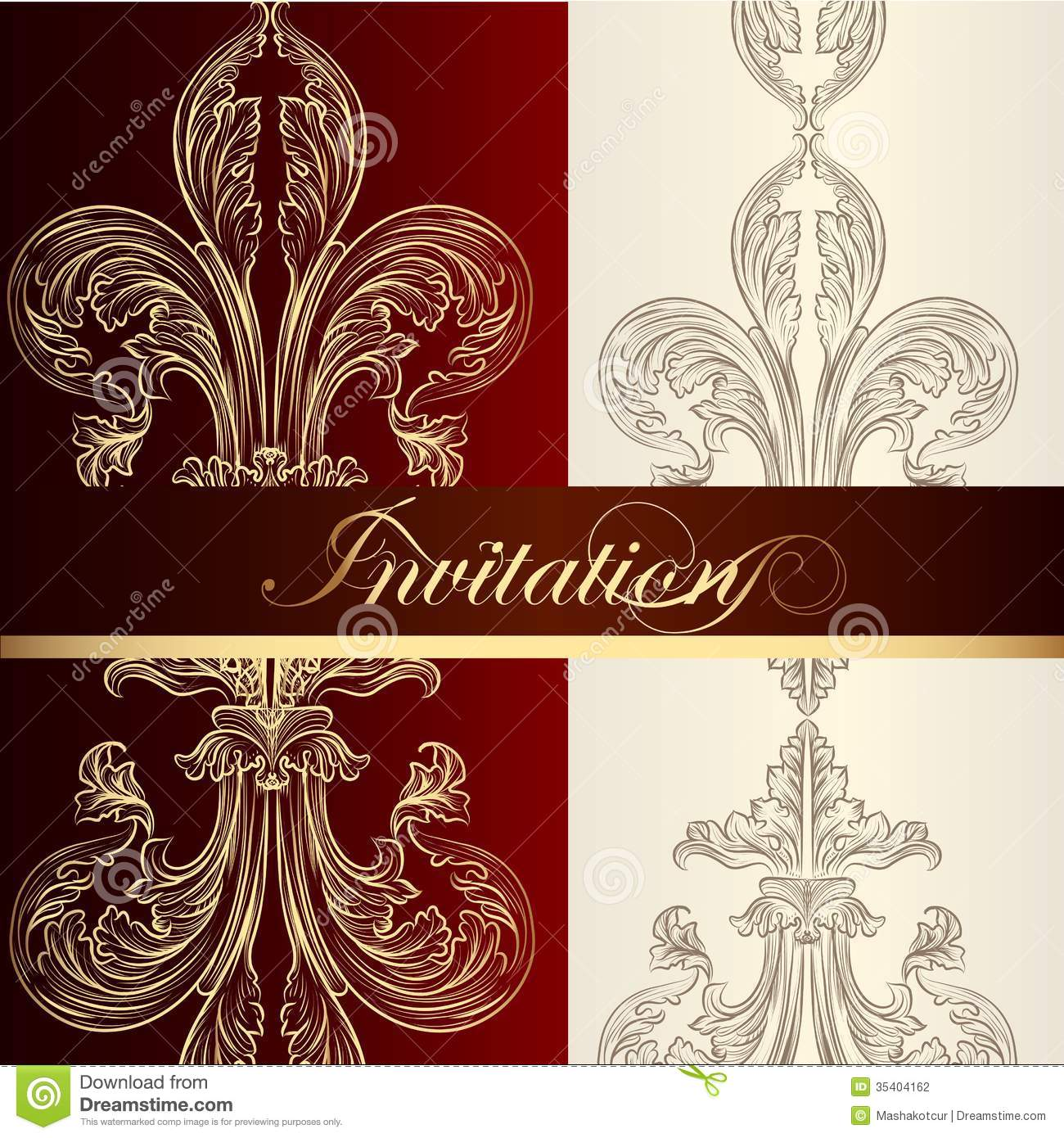 luxury invitation design with fleur de lis stock vector illustration 35404162. Black Bedroom Furniture Sets. Home Design Ideas