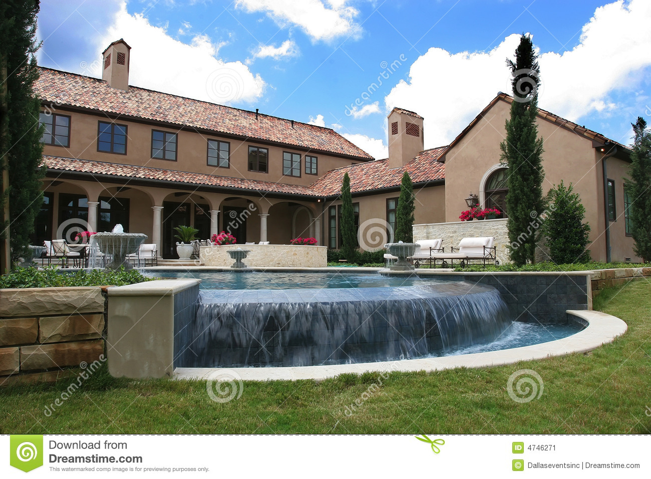 Luxury italian style home and pool stock image image for Italian pool design 7