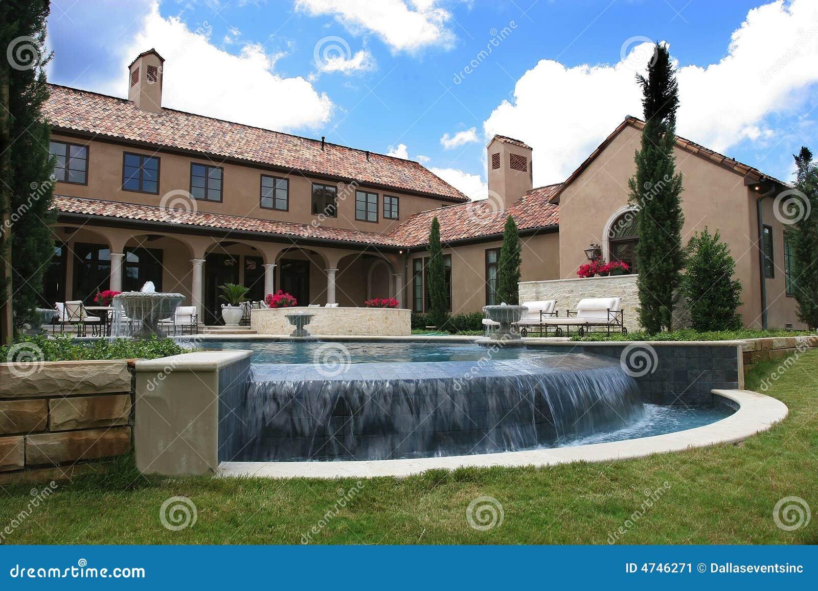 Italian Style Home luxury italian style home and pool stock image - image: 4746271