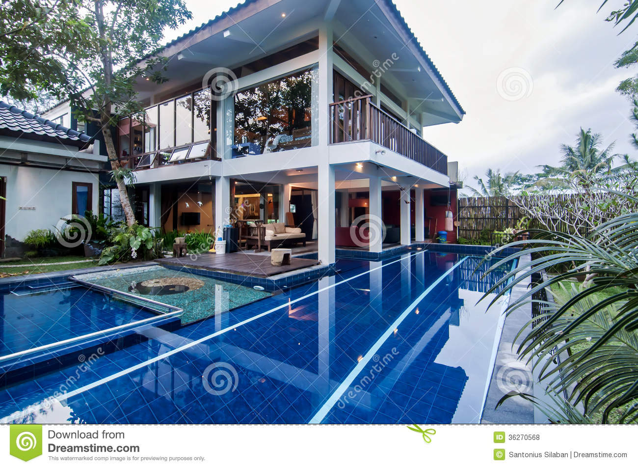 Luxury java villa with pool royalty free stock photos for Garden city pool jobs