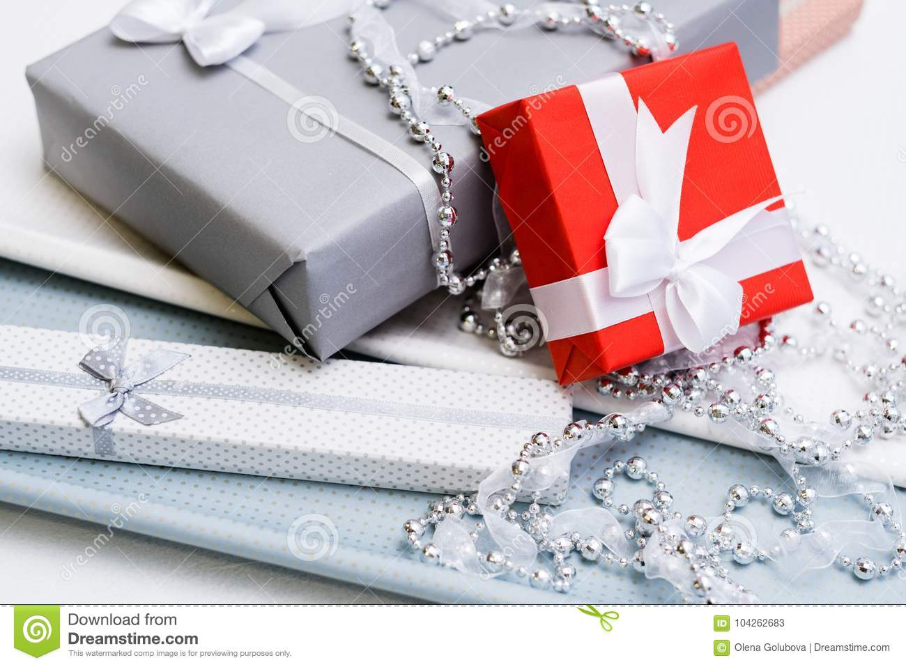Luxury Jewelry Gift For Top Class, Grey Background Stock Image ...