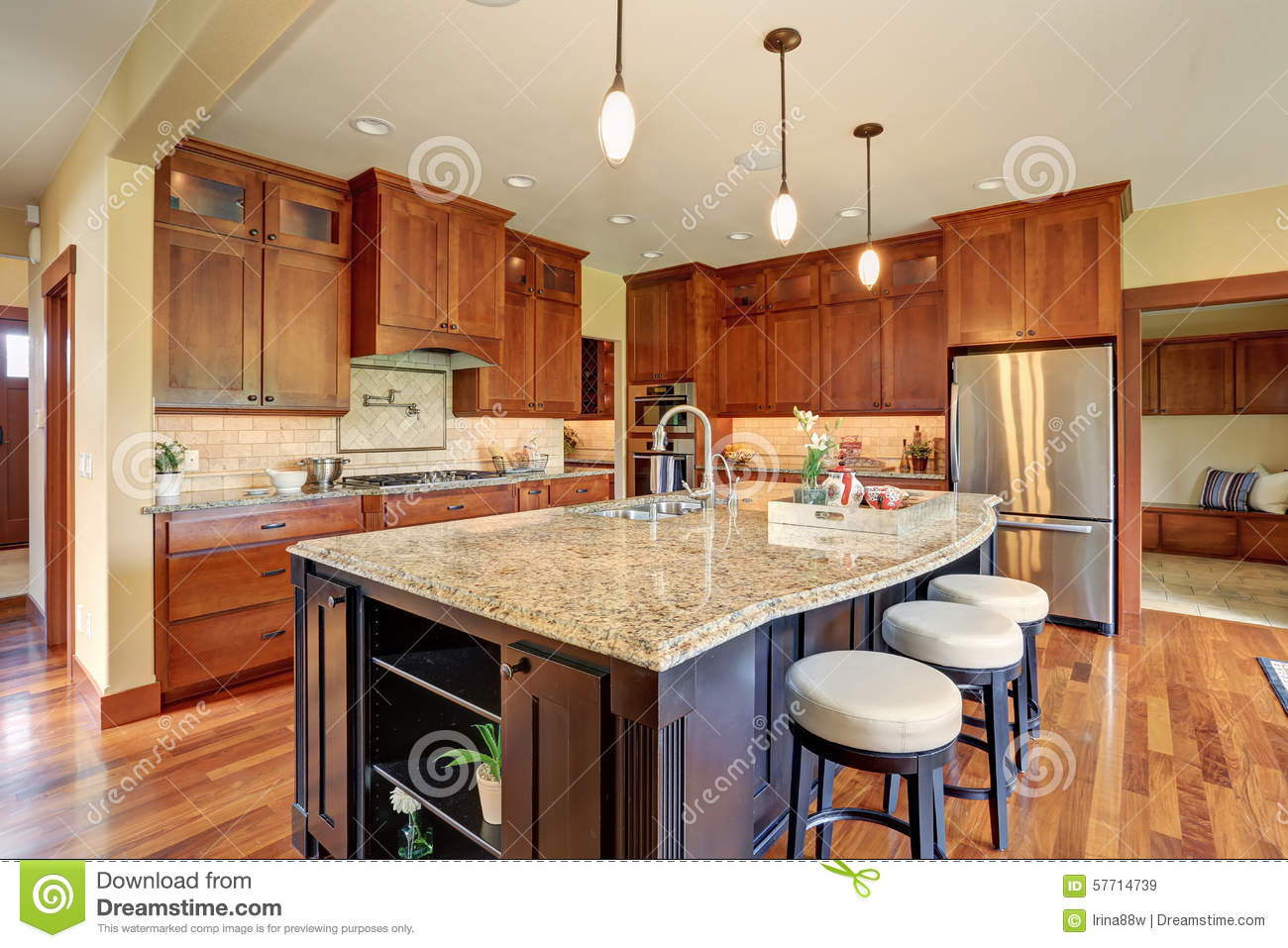 Luxury Kitchen With Bar Style Island Stock Image Image