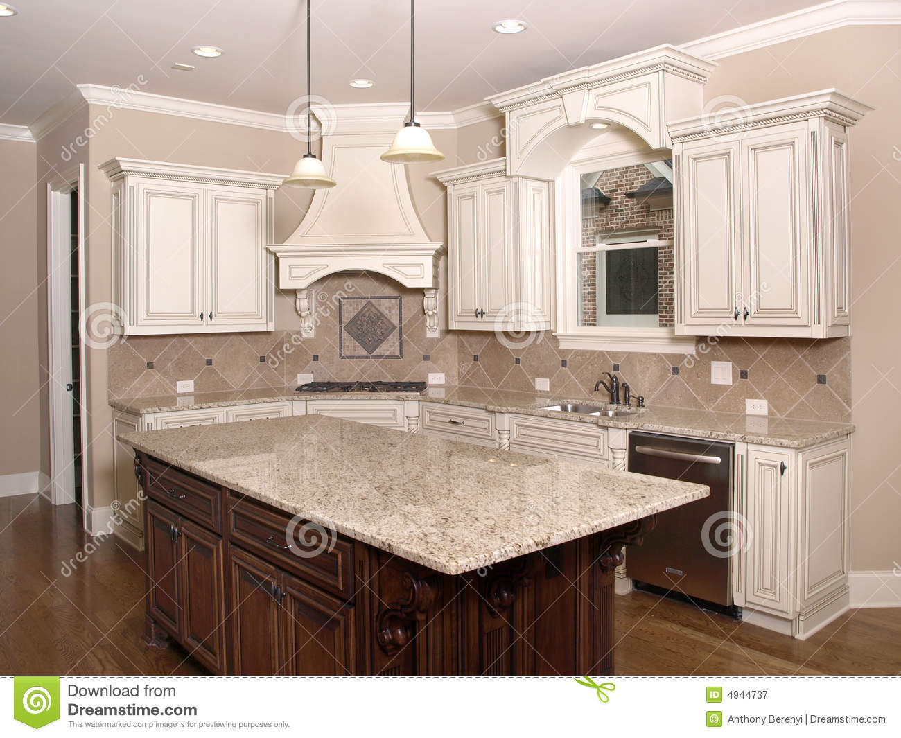 Luxury Kitchen With Granite Island And Window Stock Image