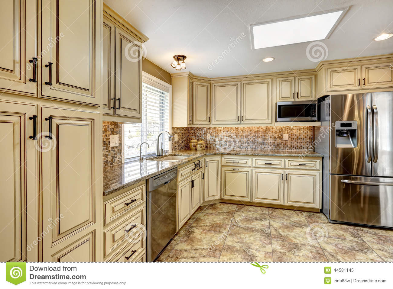 Luxury Kitchen Interior With Back Splash Trim And Tile