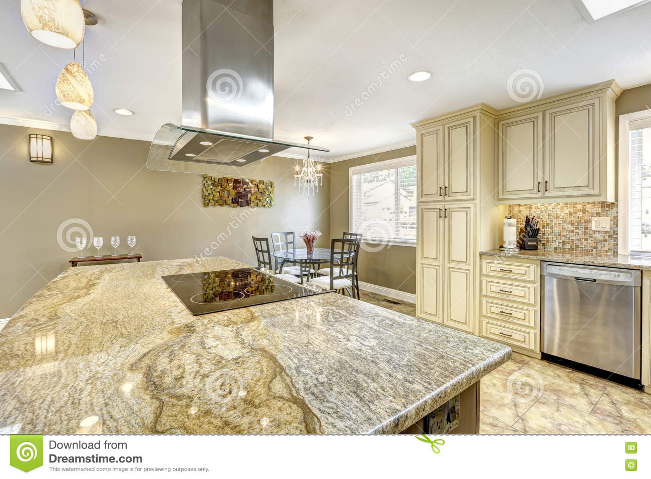 Luxury kitchen interior in light beige color stock photo Luxury kitchen flooring