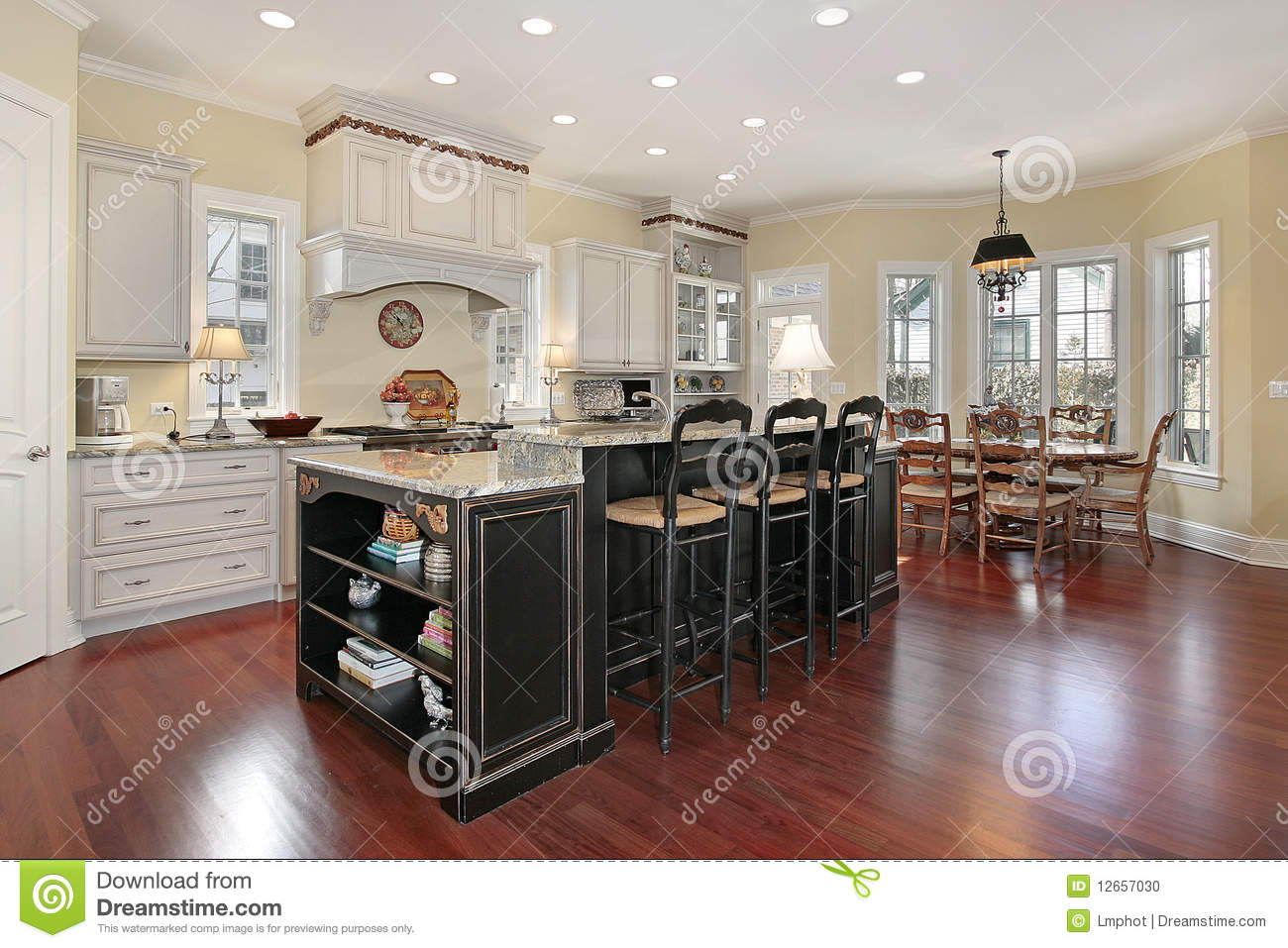 Luxury Kitchen With Island Stock Photo Image Of Dinner