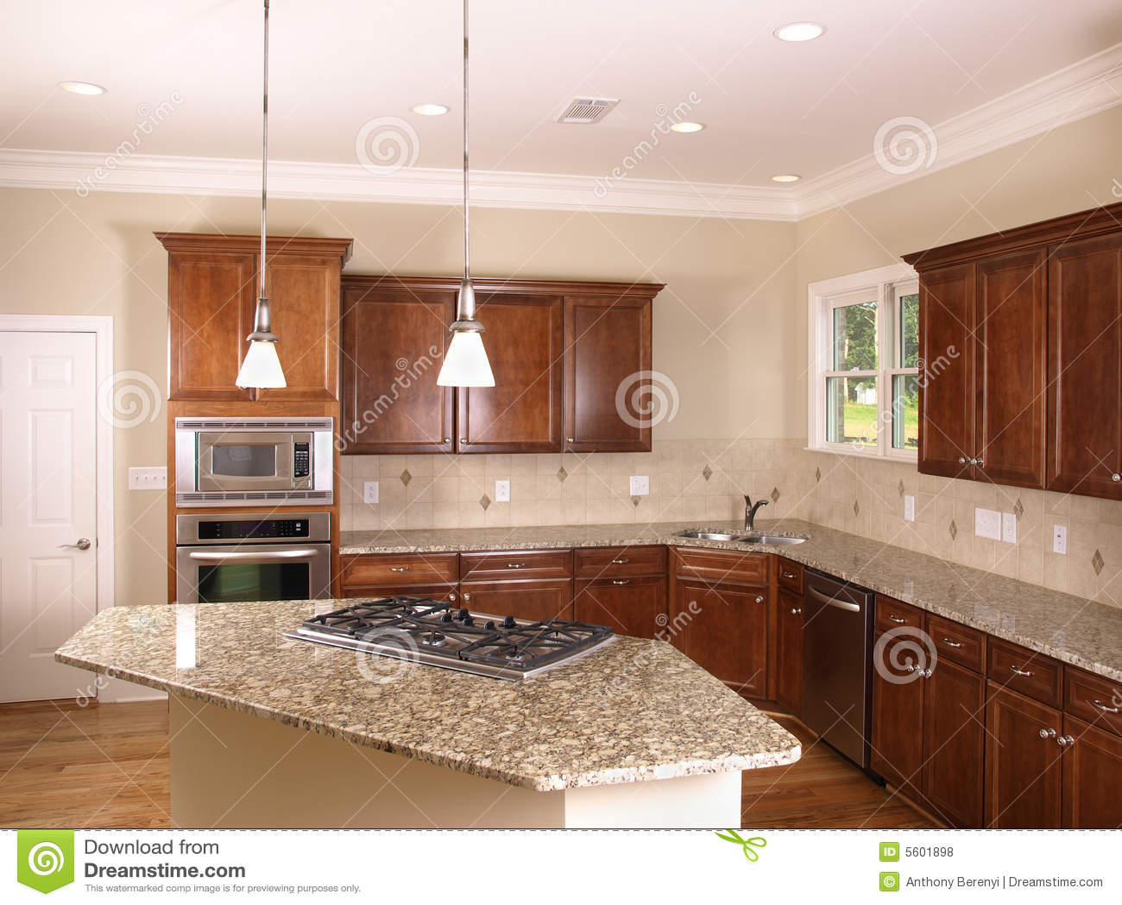 Luxury Kitchen With Island Stove 2 Stock Photo Image Of Design