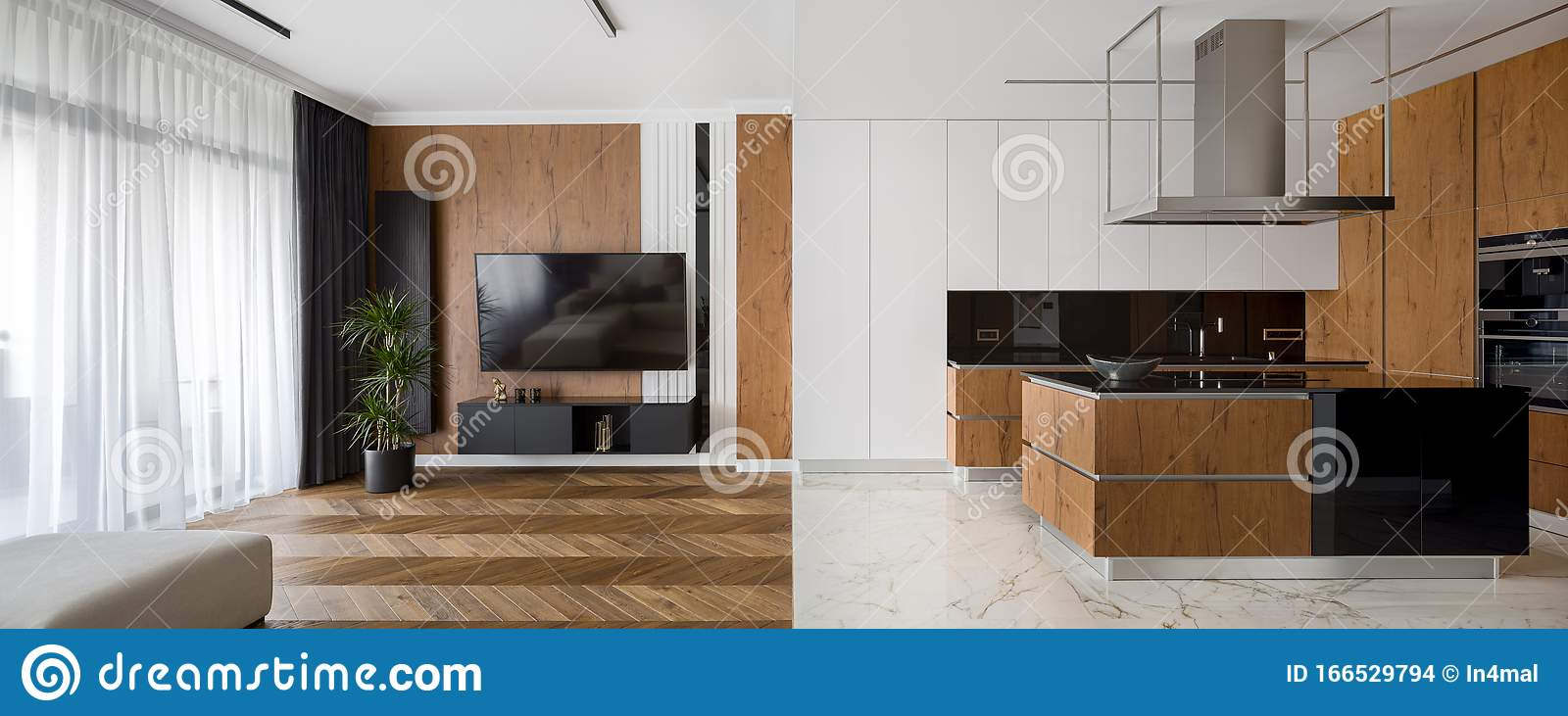 Luxury Kitchen And Living Room Stock Photo Image Of Kitchen Marble 166529794