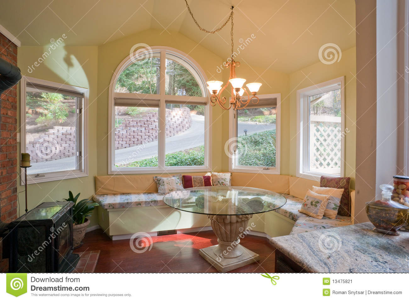 Luxury Kitchen Nook With Bay Window Stock Image
