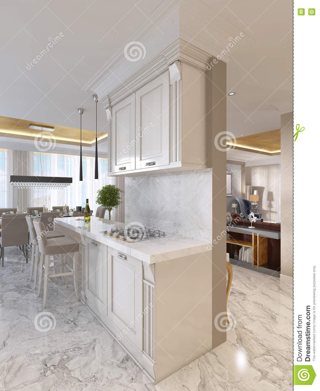 Luxury Kitchen Furniture Luxury Kitchen With Opaline Furniture In Art Deco Style Stock